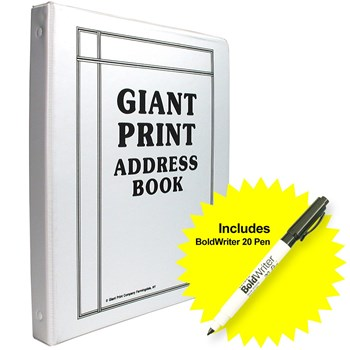 Giant Print Address Book with BoldWriter 20 Pen