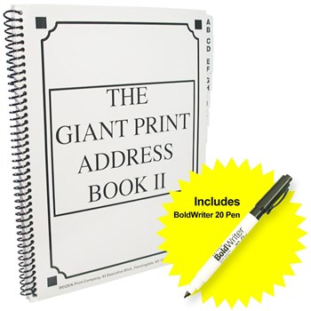 The Giant Print Address Book II with BoldWriter 20 Pen