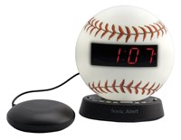The Sonic Glow Baseball Alarm Clock and Sonic Bomb Bed Shaker
