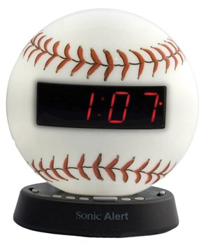 The Sonic Glow Baseball Alarm Clock with Recordable Alarm