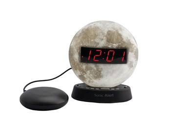 The Sonic Glow Moonlight Alarm Clock and Sonic Bomb Bed Shaker