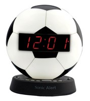 The Sonic Glow Soccer Ball Alarm Clock with Recordable Alarm
