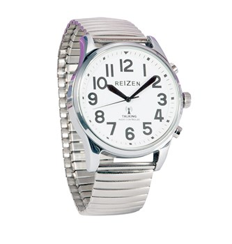 Reizen Big Face Talking Atomic Watch with Silver Expansion Band