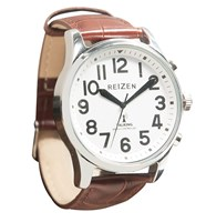 Reizen Big Face Talking Atomic Watch- Embossed Brown Leather Band