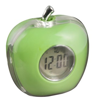 Apple Shaped Talking Alarm Clock with Temperature and Calendar - Green