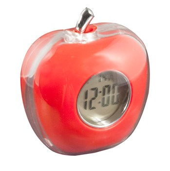 Apple Shaped Talking Alarm Clock with Temperature and Calendar - Red