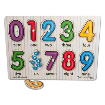 Melissa & Doug Low Vision Numbers Peg Puzzle 0-9