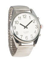 Reizen Chrome Talking Extra-Large Face Watch- Exp Band- Unisex