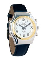 Mens Chrome Royal BiColor Talking Watch with Leather Band