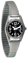 Ladies Tel-Time Low Vision Watch - Black Dial - Expansion Band
