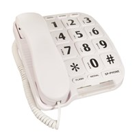 Large Button Telephone - White Color
