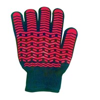 Oven Glove with Non-Slip Silicone Grip - Black and Red - Large