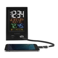 La Crosse Alarm Clock Charging Station with 2 USB Charging Ports