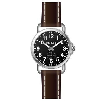 Reizen Mens Low Vision Watch- Black Face- Leather Band