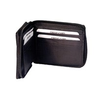 Mens Zippered Leather Wallet - Black