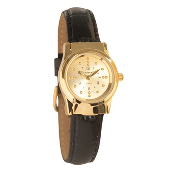 REIZEN Braille Womens Watch -Gold-Tone, Leather Band