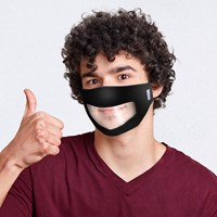 Black Reusable, Washable, TEEN Face Mask with Clear Window