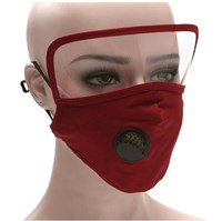2 IN 1 Reusable Face Mask with Protective Face Shield RED