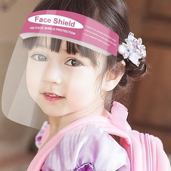 PINK Reusable and Washable, Face SHIELD with Clear Window CHILD