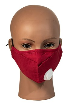 Red cotton face mask with breathable vent and 2 filters