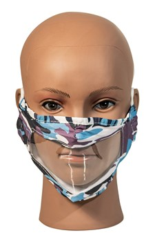 Camo Blue Reusable, Washable, Face Mask with Clear Window