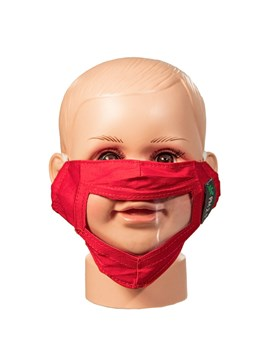 RED Reusable and Washable, Face Mask with Clear Window CHILD