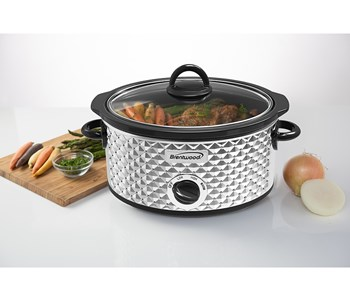 3.5 Quart Diamond Pattern Slow Cooker, Stainless Steel