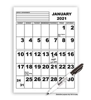 Jumbo Print Calendar - 2021 - with BoldWriter 20 Pen