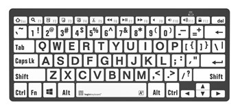 PC Bluetooth Mini Keyboard- Large Print Black on White