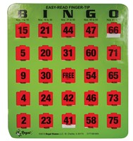 Easy Read Finger - Tip Bingo Card -Green