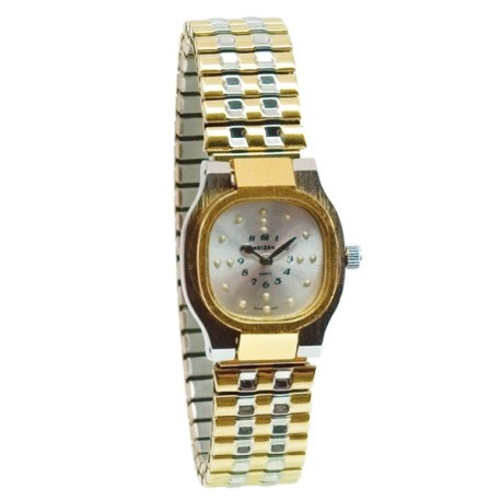 reizen-ladies-bi-color-square-braille-watch-exp-band