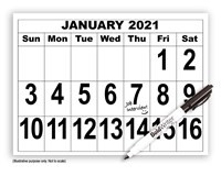 Giant Print Calendar - 2021 with BoldWriter 20 Pen