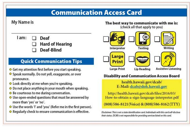 Communication Access Card