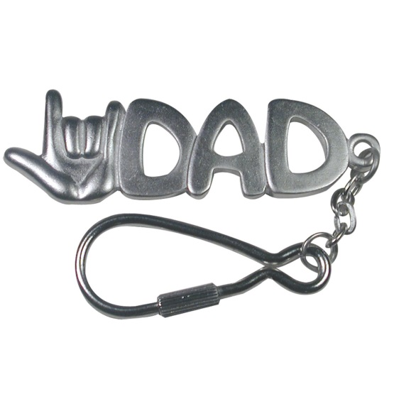 I Love You Dad Keychain Silver