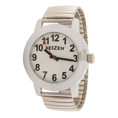reizen-low-vision-quartz-watch-white-face-expansion-band-unisex