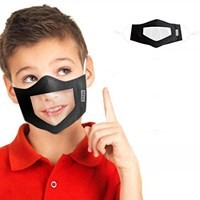 Black Reusable and Washable, Face Mask with Clear Window CHILD