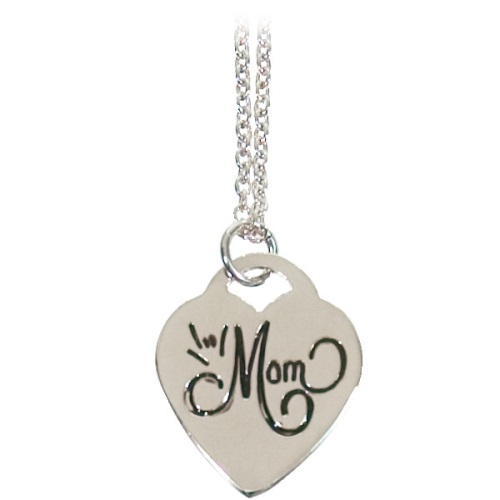 ILY Mom Heart Necklace 18in Chain Silver