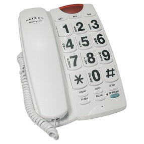 Reizen Big Button Speaker Phone White with Black Numbers