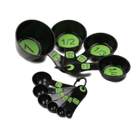 Measuring Spoons w Large Print Set 6 Black-Green