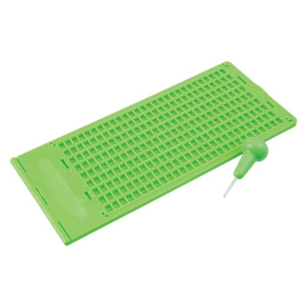 Braille Slate and Stylus Kit 9 Lines x 30 Cells Green Plastic