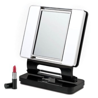 Natural 5x-1x Lighted Makeup Mirror Black