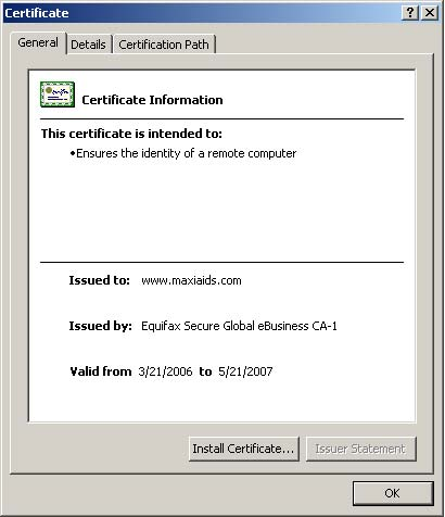 Security Certificate Example