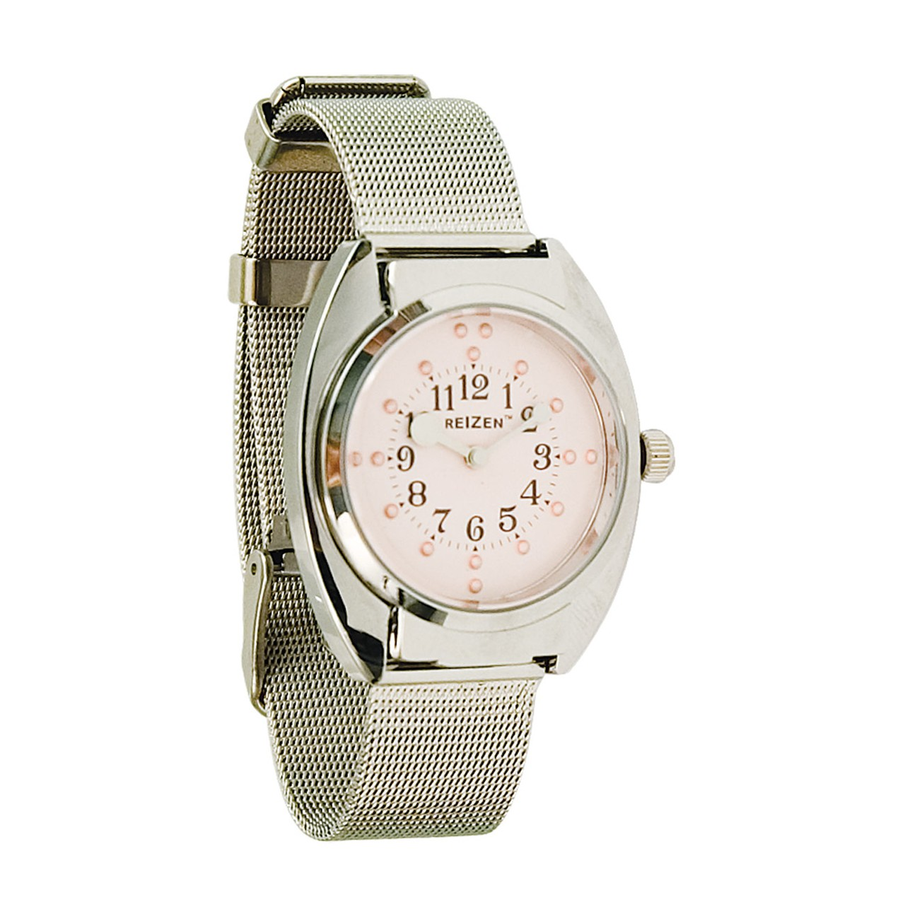 Ladies Braille Watch- Chrome- Steel Mesh Band- Pink Dial