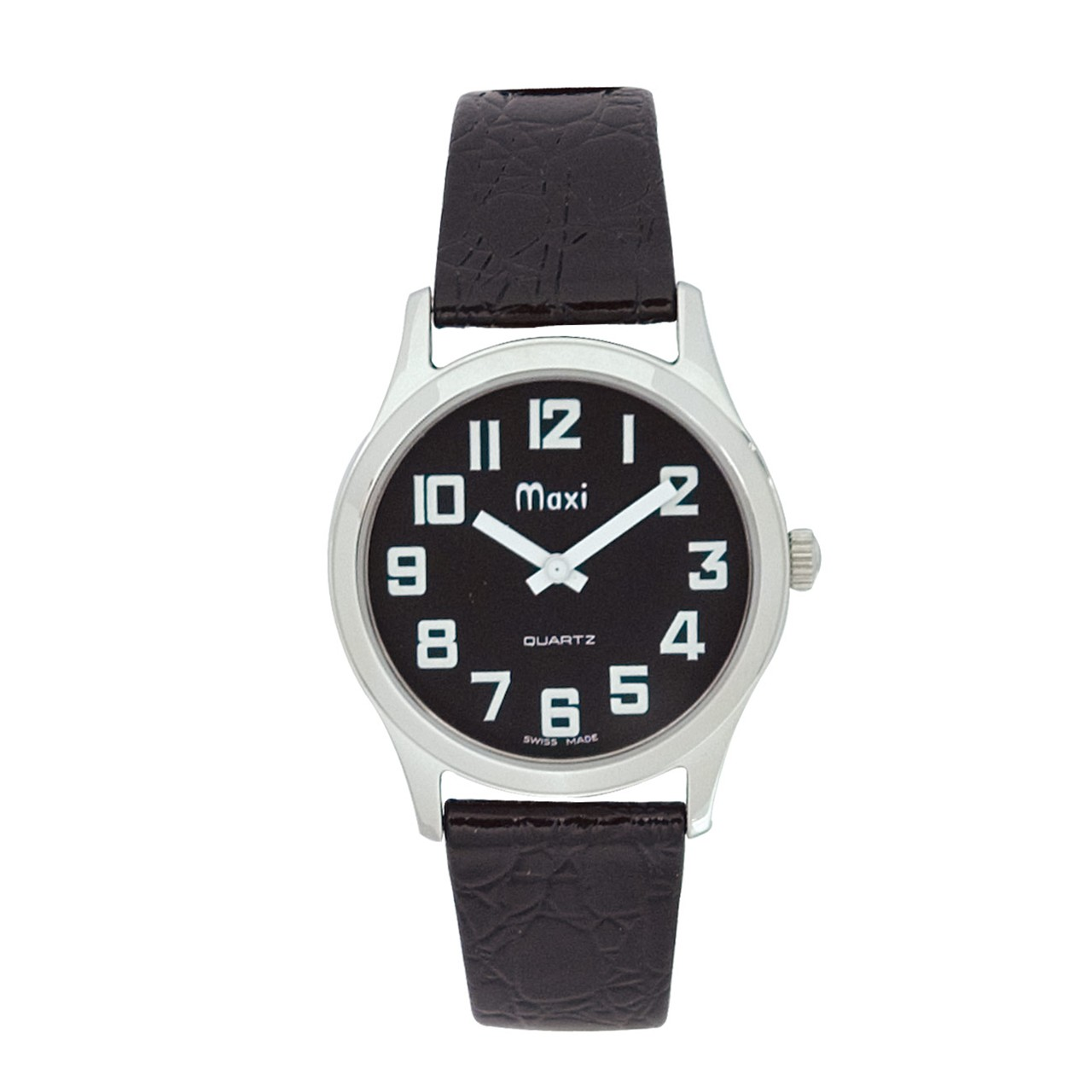 Maxiaids Mens Chrome Low Vision Watch Black Face