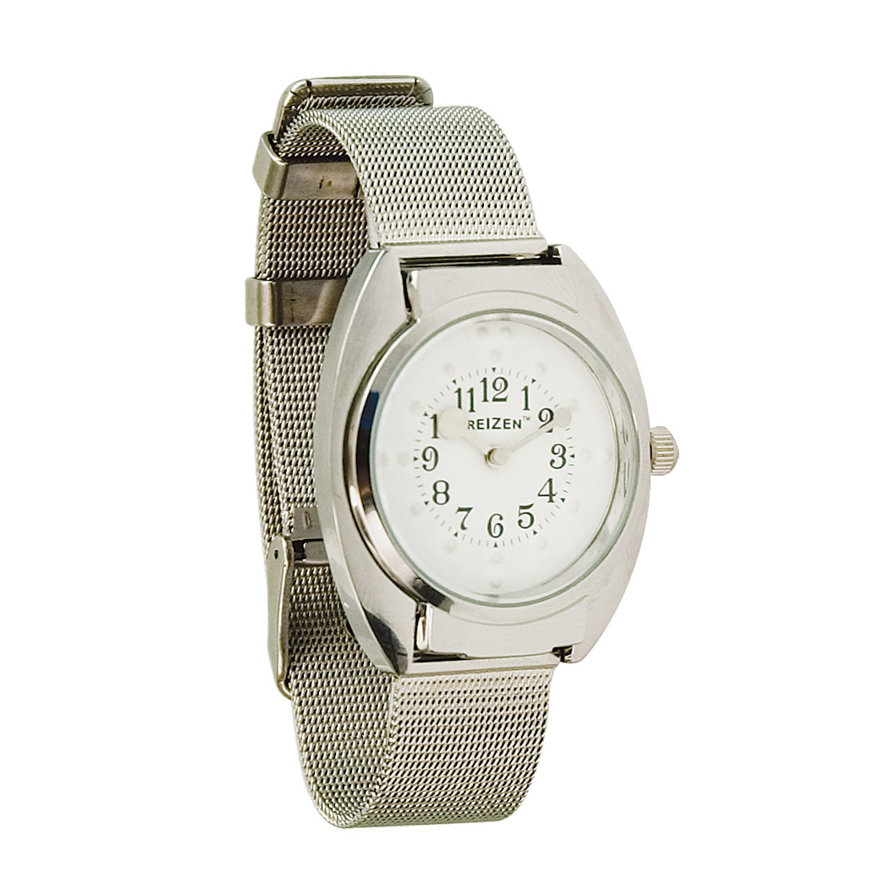 Unisex Braille Watch- Chrome- Steel Mesh Band- White Dial