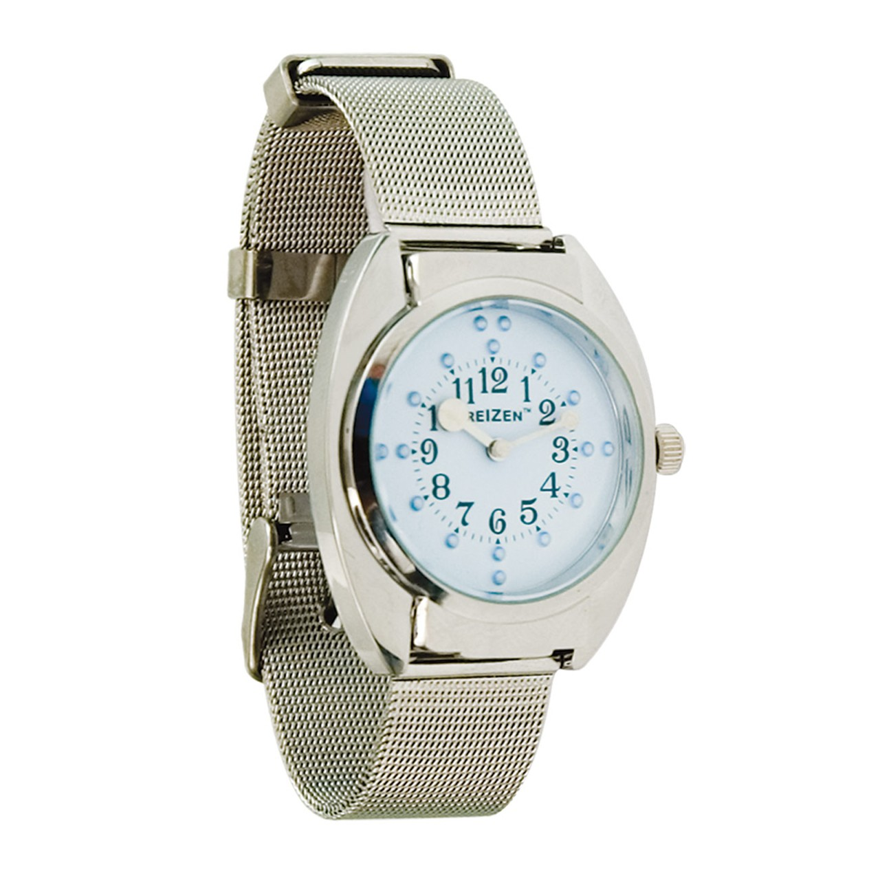 Unisex Braille Watch- Chrome- Steel Mesh Band- Blue Dial