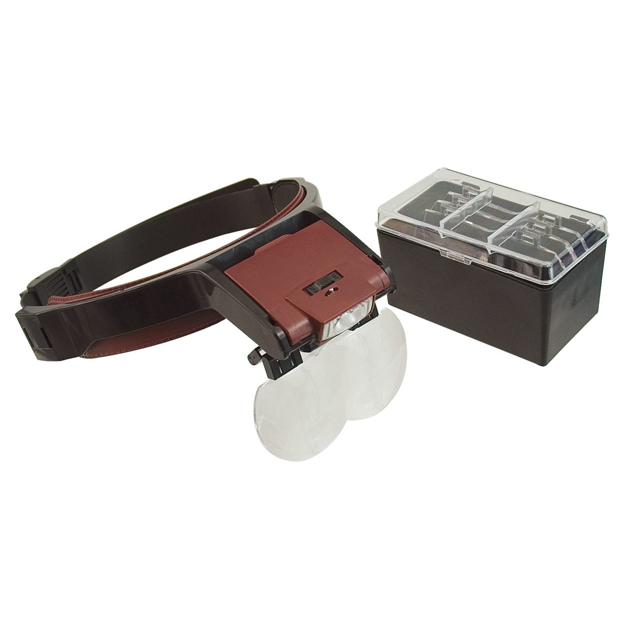 LED MagView Hands-Free Headband Magnifier Kit with 4 Double Lenses