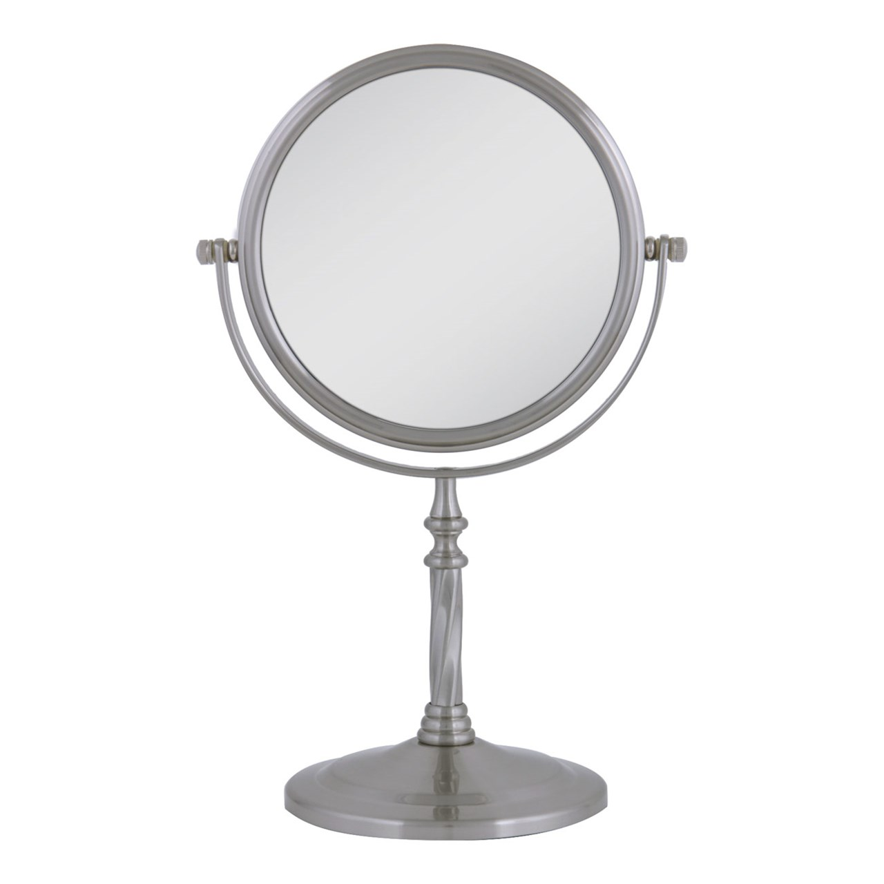 satin nickel mirror maxiaids swivel vanity mirror pedestal satin nickel 5x 1x 2104