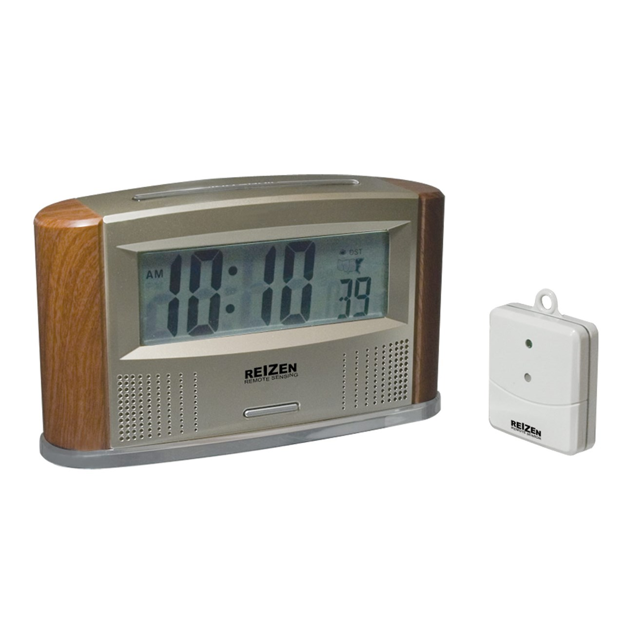 maxiaids reizen atomic talking clock with indoor outdoor thermometer. Black Bedroom Furniture Sets. Home Design Ideas