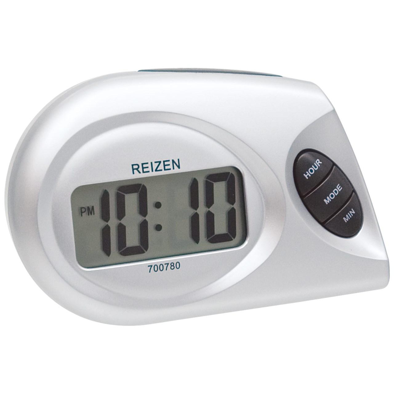Maxiaids reizen lcd talking alarm clock designer style for Designer alarm clock